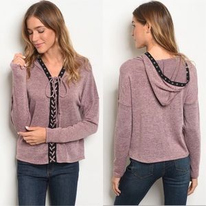 Light sweater lace up hoodie